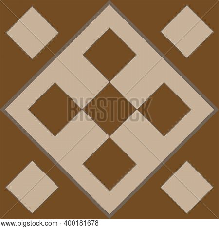 Brown Pattern In The Form Of Brown Squares And Rhombuses For Tiles. Brown Decorative Square Pattern