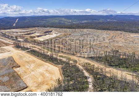 Aerial View Of Forest Regeneration After Bushfires And A New Sand Quarry Being Built In Regional Aus