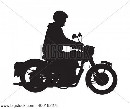 Man on retro motorcycle rides on the road. Isolated object on white background