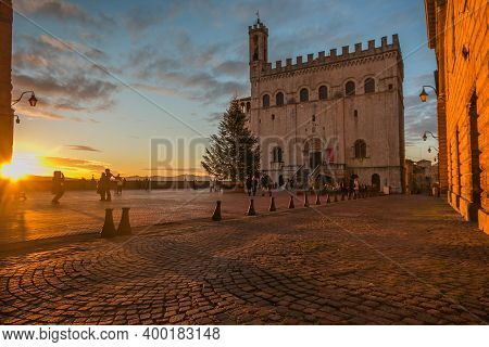 Gubbio, Italy - December 19, 2020: Romantic View Of Piazza Grande In The Medieval Center Of Gubbio W