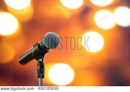 Public Speaking Backgrounds, Close-up The Microphone On Stand For Speaker Speech At Seminar Room Wit