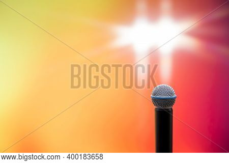 Public Speaking Backgrounds, Close-up The Microphone For Seminar Speaker Speech And Talking Or Singi