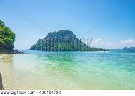 Beautiful Idyllic Seascape And White Sand On Thale Waek Or Separated Sea Krabi City Thailand.krabi -