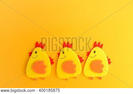 Three Cute Yellow Felt Chickens In A Row, Handmade, Diy, Kids Easter Crafts, Copy Space, Funny Handm
