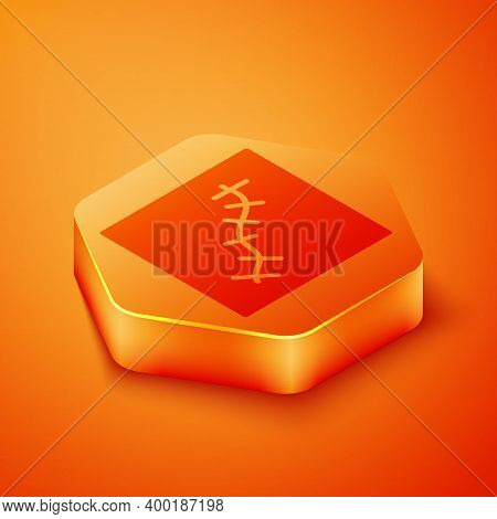 Isometric Scar With Suture Icon Isolated On Orange Background. Orange Hexagon Button. Vector