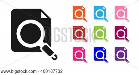 Black Search Concept With Folder Icon Isolated On White Background. Magnifying Glass And Document. D
