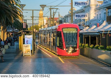 Adelaide, South Australia - March 18, 2017: Adelaide Metro Tram Terminated At Moseley Square In Glen