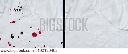 Dry Cleaning Of Clothes From Paint Spots Or Stain. Before And After Effect. White T-shirt Before And