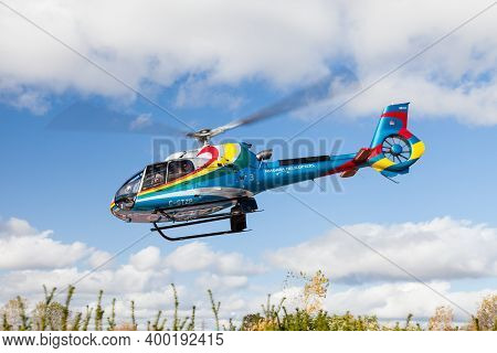 Niagara Falls, Canada - October 24:  A Sightseeing Helicopter From Niagara Helicopters In Canada Tak