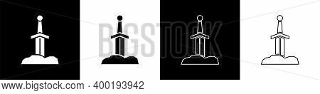 Set Sword In The Stone Icon Isolated On Black And White Background. Excalibur The Sword In The Stone