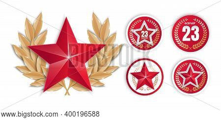 23 February.  Red Star With A Laurel Wreath. Icons Badges For February 23. (translation: February 23