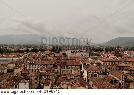 View On The Lucca City From The Guinigi Tower. Italy,toscana