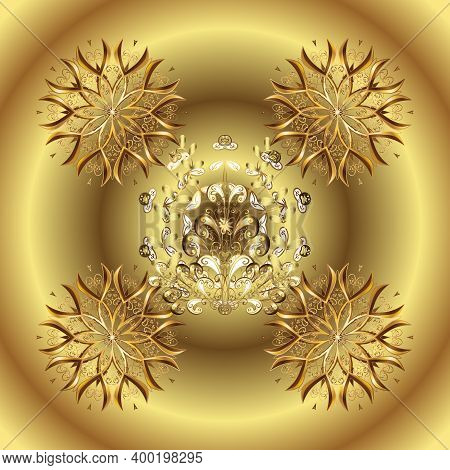 Vector Golden Floral Ornament Brocade Textile Pattern. Metal With Floral Pattern. Golden Pattern. Ye