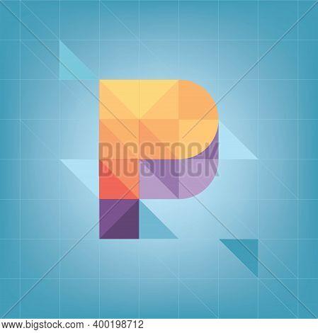 Colorful Cubic Alphabet , Yellow Letter, Blue Background, Geometric Shapes, P