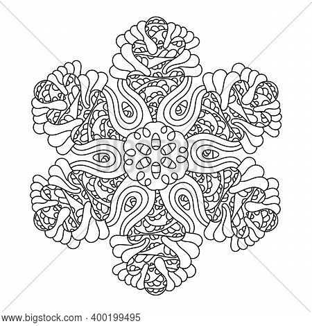 Mandala. Coloring Book Page . Doodle Linear Art. Anti Stress For Adults And Children For Relaxing. H