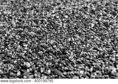 Gray Gravel Stones Background. Gravel Stones For The Construction Industry