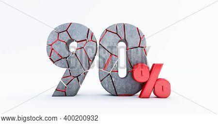 3d Render Of  Broken Ninety Percent (90%)  Isolated On White Background, 90  Ninety Percent Sale. Bl