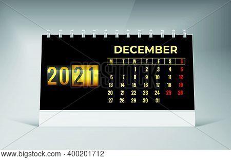 December 2021 Calendar. December 2021 Calendar Vector Illustration. Wall Desk Calendar Vector Templa