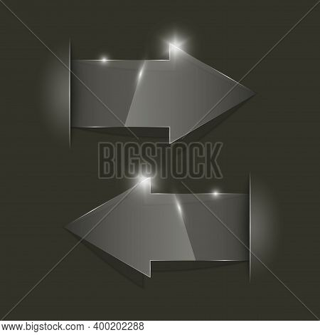 Transparent Arrow Banners Set. Direct Glassy Shape. Abstract Arrows Background. Business Infographic