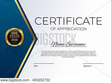 Blue And Gold Certificate Of Achievement Template Set Background With Gold Badge And Border. Award D