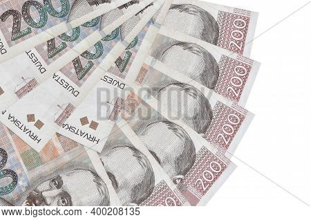 200 Croatian Kuna Bills Lies Isolated On White Background With Copy Space Stacked In Fan Shape Close