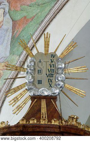 SVETI PETAR MREZNICKI, CROATIA - JULY 14, 2013: Ten Commandments, pulpit in the parish church of St. Peter in Sveti Petar Mreznicki, Croatia