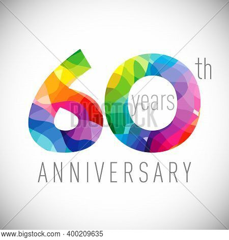 60th Anniversary Numbers. 60 Years Old Logotype. Bright Congrats. Isolated Abstract Graphic Design T