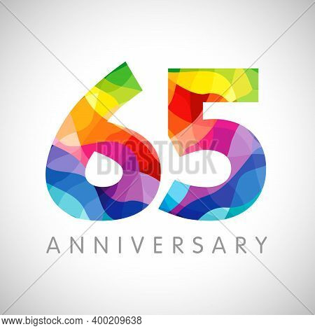65th Anniversary Numbers. 65 Years Old Logotype. Bright Congrats. Isolated Abstract Graphic Design T