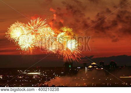 Fantastic fireworks over night city
