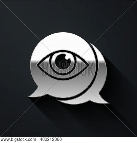 Silver Eye Scan Icon Isolated On Black Background. Scanning Eye. Security Check Symbol. Cyber Eye Si