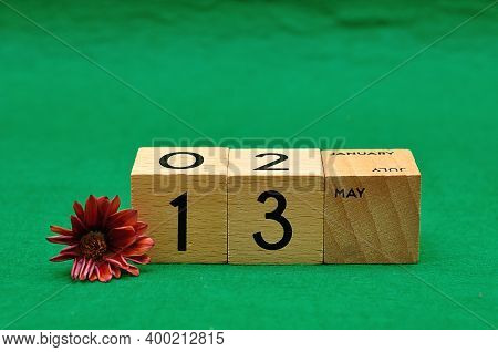 13 May On Wooden Blocks With An African Daisy On A Green Background