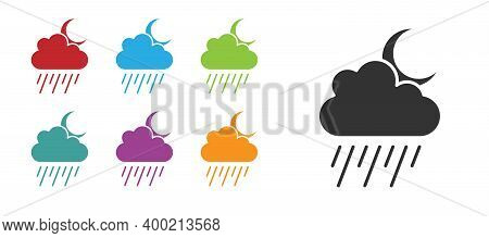 Black Cloud With Rain And Moon Icon Isolated On White Background. Rain Cloud Precipitation With Rain