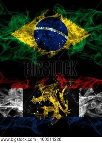 Brazil, Brazilian Vs Benelux Smoky Mystic Flags Placed Side By Side. Thick Colored Silky Abstract Sm