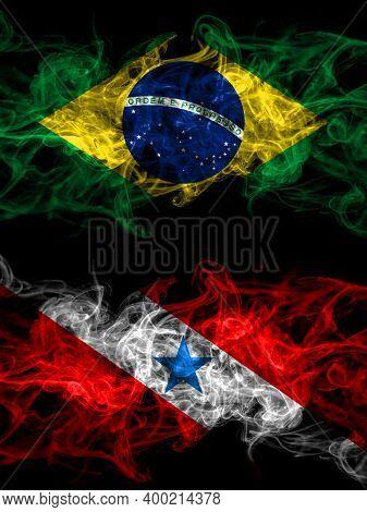 Brazil, Brazilian Vs Brazil, Brazilian, Para Smoky Mystic Flags Placed Side By Side. Thick Colored S