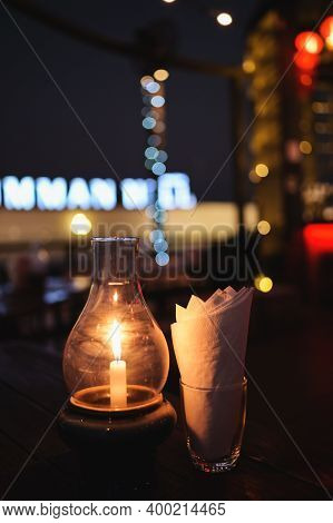 Luxury Romantic Candlelight Dinner Table Setup For Couple In Restaurant On Valentine's Day With Cham