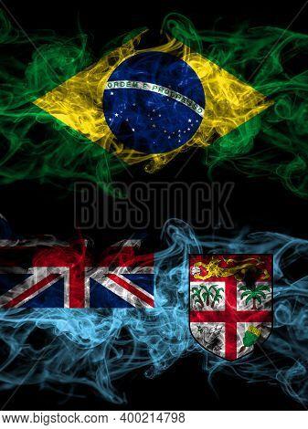 Brazil, Brazilian Vs Fiji, Fijian Smoky Mystic Flags Placed Side By Side. Thick Colored Silky Abstra