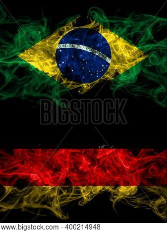 Brazil, Brazilian Vs Germany, German, Deutschland Smoky Mystic Flags Placed Side By Side. Thick Colo