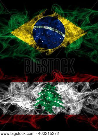 Brazil, Brazilian Vs Lebanon, Lebanese Smoky Mystic Flags Placed Side By Side. Thick Colored Silky A
