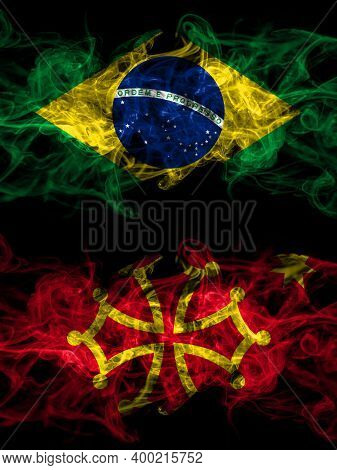 Brazil, Brazilian Vs Occitania Smoky Mystic Flags Placed Side By Side. Thick Colored Silky Abstract