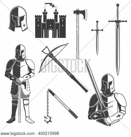 Set Of Knight And Knight Equipment Icon. Knife, Dagger, Sword, Battle, Castel, Helmet, Flail, Crossb
