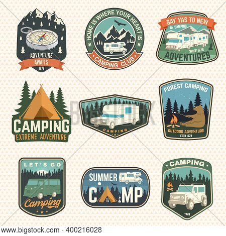 Set Of Rv Camping Badges, Patches, Camping Quote. Vector. Concept For Shirt Or Logo, Print, Stamp Or