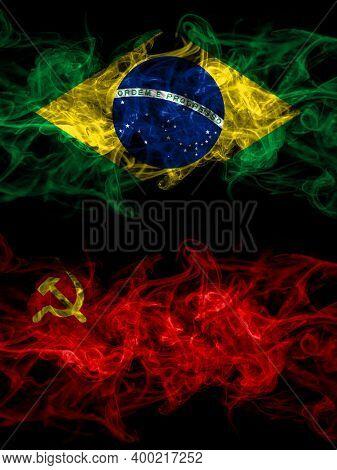 Brazil, Brazilian Vs Ussr, Soviet, Russia, Russian, Communism Smoky Mystic Flags Placed Side By Side