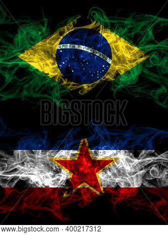 Brazil, Brazilian Vs Yugoslavia, Yugoslavian Smoky Mystic Flags Placed Side By Side. Thick Colored S