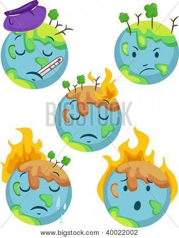 Illustration of Sick Planet Icons showing different negative expressions