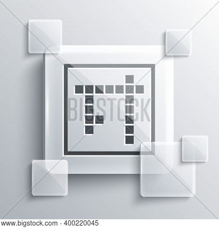 Grey Bingo Icon Isolated On Grey Background. Lottery Tickets For American Bingo Game. Square Glass P