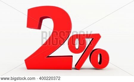 Golden Two ( 2 ) Percent Isolated  On A White Background., 2 Percent Off, 3d Render