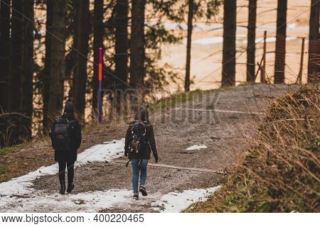 Two Women Hiking In The Beautiful Swiss Mountains - Kronberg Appenzell Switzerland Europe
