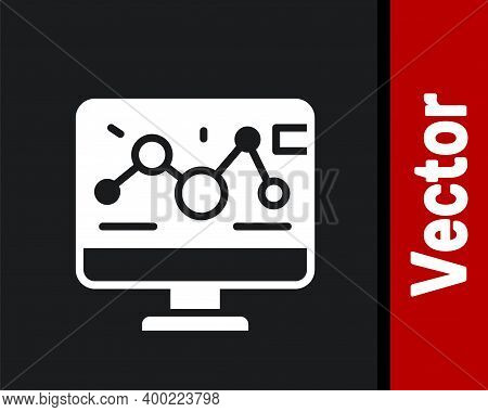 White Genetic Engineering Modification On Laptop Icon Isolated On Black Background. Dna Analysis, Ge