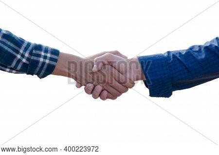 Handshake Isolated On White Background, Two Man Handshake