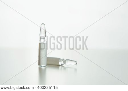 View Of Medical Ampoules With Copy Space